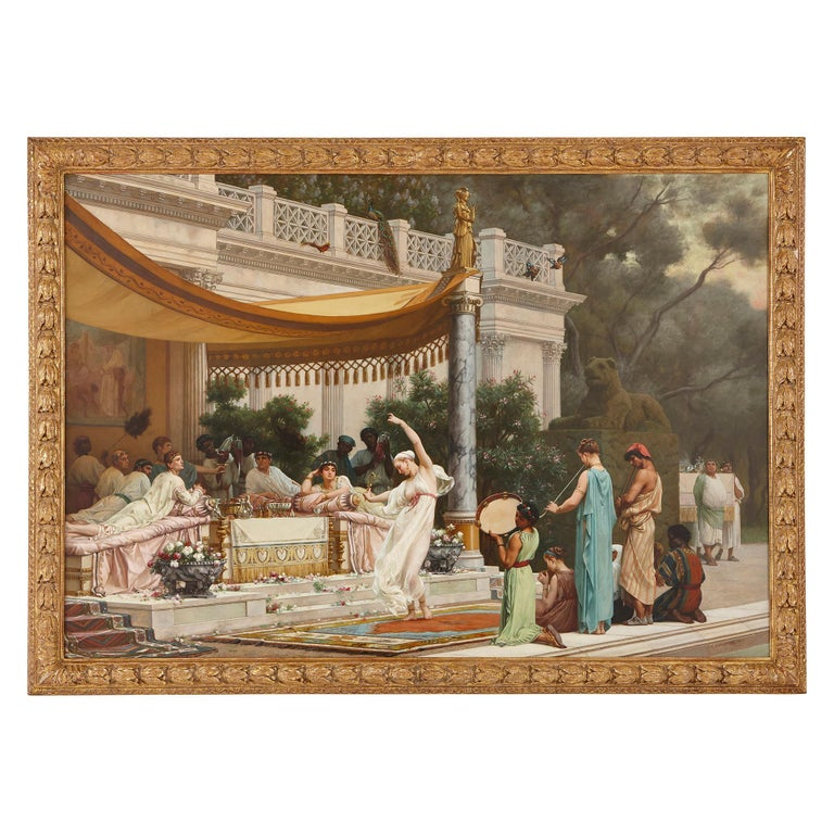 Gustave Clarence Rodolphe Boulanger  Figurative Painting - 'A Summer Repast at the House of Lucullus', large oil painting by Boulanger