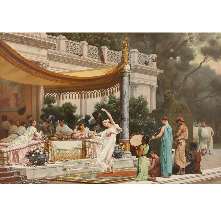 'A Summer Repast at the House of Lucullus', large oil painting by Boulanger - Painting by Gustave Clarence Rodolphe Boulanger