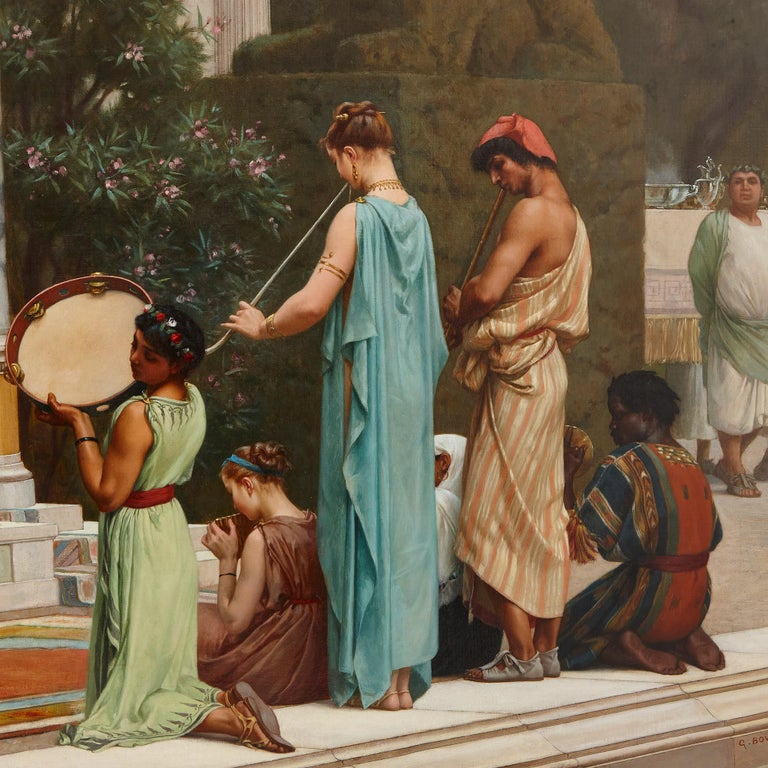 'A Summer Repast at the House of Lucullus', large oil painting by Boulanger - Brown Figurative Painting by Gustave Clarence Rodolphe Boulanger