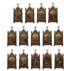 Set of fourteen 19th Century religious paintings of the Stations of the Cross