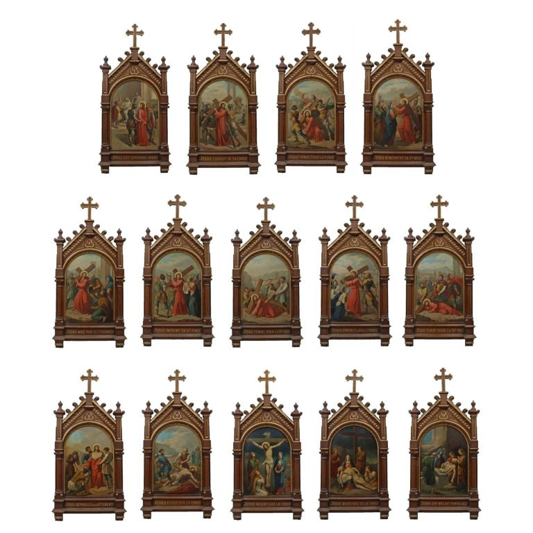 Unknown - Set of fourteen 19th Century religious paintings of the Stations of the Cross 1