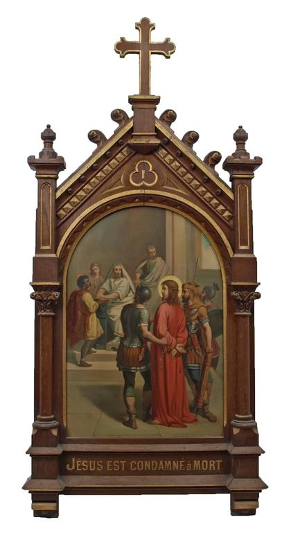 Set of fourteen 19th Century religious paintings of the Stations of the Cross - Painting by Unknown