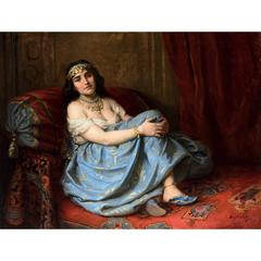 Large 19th Century Orientalist oil painting of a seated Odalisque in an interior