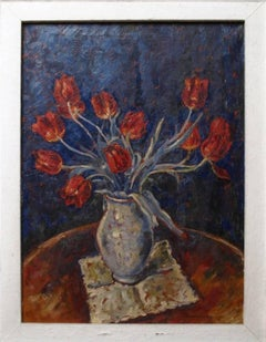 20th Century oil painting of tulips by Hermann Fechenbach