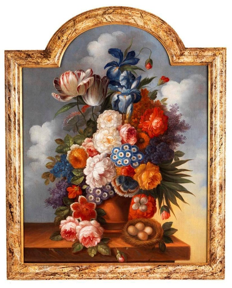 Still life with flowers, antique 18th Century oil paintings - Painting by Unknown