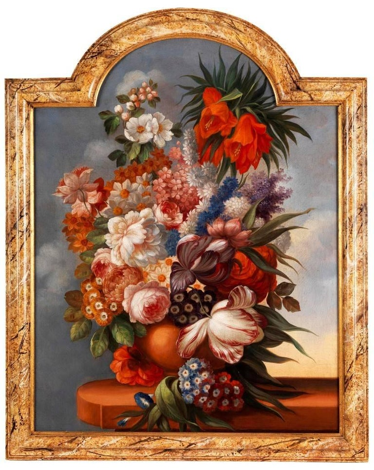 Still life with flowers, antique 18th Century oil paintings - Brown Still-Life Painting by Unknown