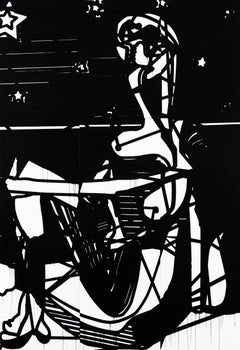 Seated figure, 2015, Ink on gessoed paper over panel 105 x 72 in