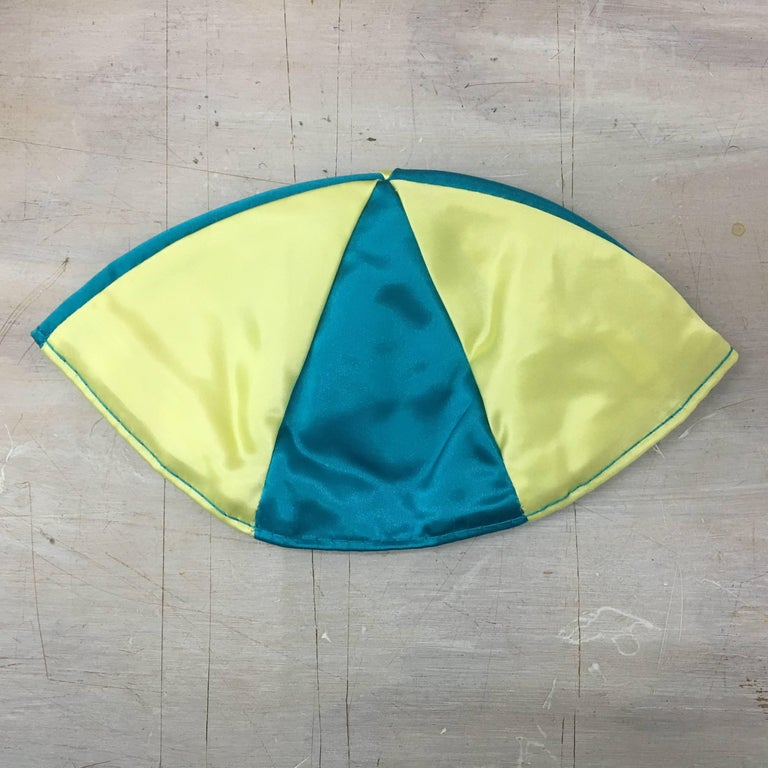 Swedish Yarmulke (Please Don't Forget Raoul Wallenberg),1995 Satin yarmulke - Blue and Yellow Signed For decades, Leibowitz has been the New York art world's master painter of abjection and neuroses, with mockingly self-abasing work that mixes
