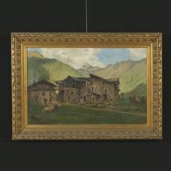 Large Oil on Canvas Mountain Glimpse by Napoleone Luigi Grady Early 20th Century