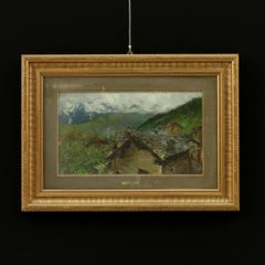 Oil on Cardboard by Arnoldo Soldini Country Glimpse Italy 19th Century