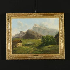 Eugenio Gignous Oil painting on Canvas Mountain Landscape 19th Century Italy