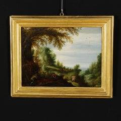 Alexandre Keirincx Oil Painting on Oak Board Landscape with Figures