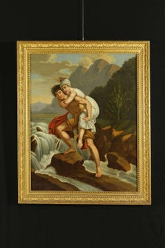 Oil Painting On Canvas The Wading 19th Century Italy