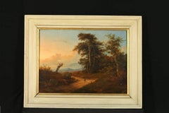 Massimo D'Azeglio Landscape with Figures on the Road Oil on Canvas Italy 1800