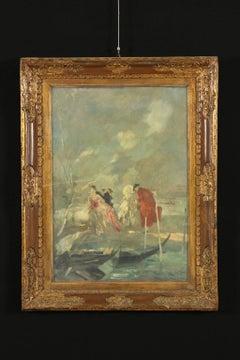Lodovico Zambeletti Oil Painting on Canvas amorous Scene in Venice Italy '900