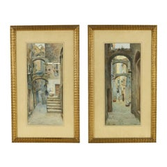 "Pair of Watercolors ""Sanremo Alleys"" by Michele Allavena, Signed 20th Century"