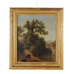 Francesco Gonin Landscape with Farmer and Cart Oil on Canvas 1880