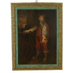 Child Portrait from the Flemish School Oil on Canvas Signed End of 1800