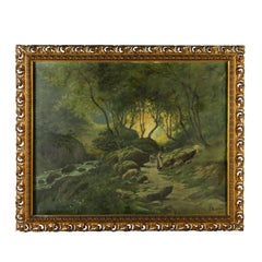 Woodland with Shepherdess by Francesco Bosso Oil on Canvas Vercelli 1906