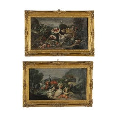 Pair of Still Life Paintings Oil on Canvas Neapolitan School 17th Century