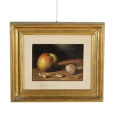 Still Life with Apple and Nuts Oil on Canvas by Gregorio Sciltian 20th Century