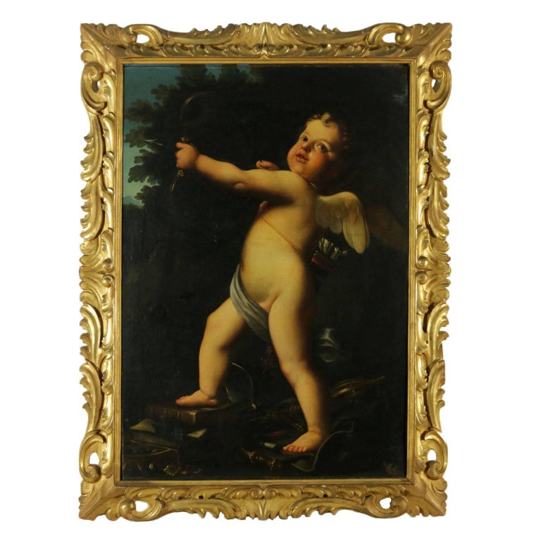 Setting by Marcantonio Franceschini Cupid Oil on Canvas End 1600 - Early 1700