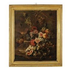 Still Life with Flowers and Fruit Oil on Canvas Italian School 18th Century