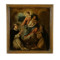 Rosary Madonna with the Child and Saints Oil on Board 17th Century