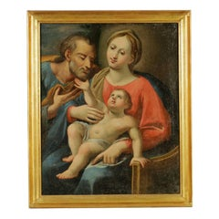 Madonna with Child and St. Joseph Italian School Oil on Canvas 18th Century