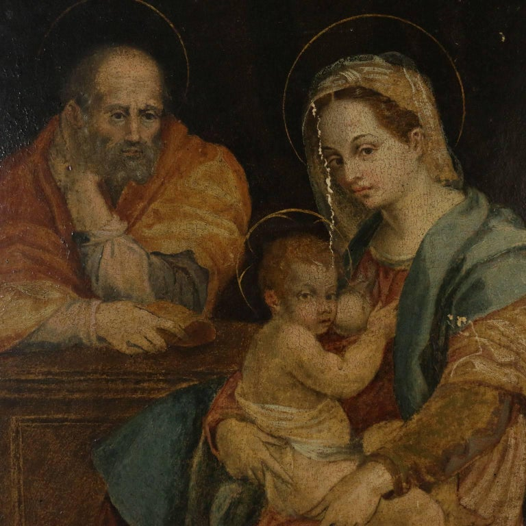 Oil on canvas. Copy from the famous painting by Andrea Del Sarto, painted around 1528 for Barberini's family and held at the National Gallery of Antique Art in Rome. There are many antique copies of this painting that certify its fame.