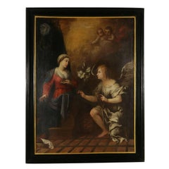 Annunciation Oil on Canvas Antique Painting 17th Century