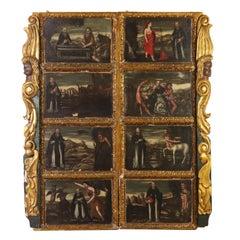 Eight Canvas with Life Scenes of St. Antony 17th Century