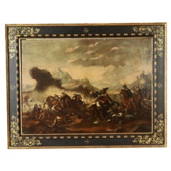 Battle Scene Oil on Canvas Late 17th Century