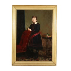 Portray of Young Girl Oil on Canvas 19th Century