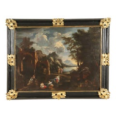Landscape with Ruins and Figures Oil on Board 18th Century