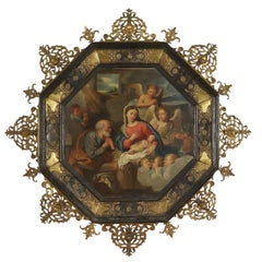 Holy Family with Angels Oil on Copper Octagonal Frame XVII Century