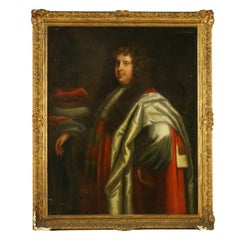 Portrait of Lord Crewe Setting of Peter Lely Oil on Canvas Mid 1600