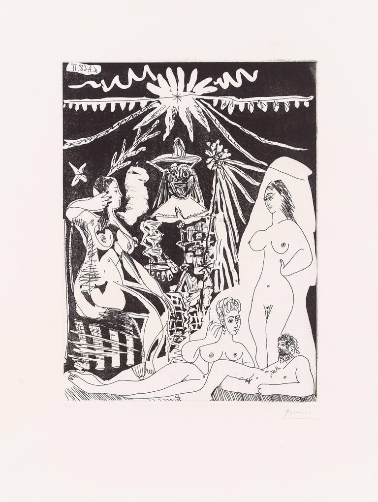 Picasso, Suite 347, Reclining Man with Two Women for Gallery Louise Leiris, 1969