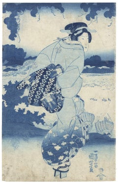 Utagawa Kuniyoshi Ukiyo-e Beauty Japanese Woodblock Print-Prussian Blue Aizuri-e