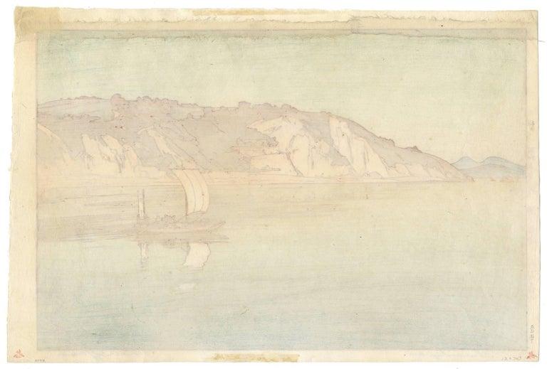 Hiroshi Yoshida, Japanese Woodblock Print, Sailing Boat, Sea Landscape, Ocean For Sale 1