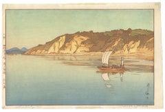 Hiroshi Yoshida, Japanese Woodblock Print, Sailing Boat, Sea Landscape, Ocean