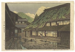 Kawase Hasui Original Japanese Woodblock Print, Mountain Onsen Green Rainy Scene