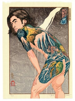 Paul Binnie, Hokusai Waterfalls, Tattoo, Ukiyo-e, Contemporary Woodblock Print