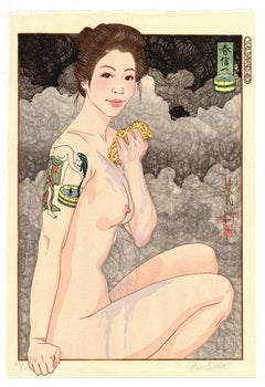 Paul Binnie, Contemporary Woodblock Print, Tattoo, Bathing Beauty, Erotica