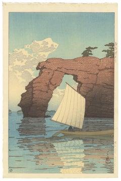 Natural Rock Arch w/ Sailing Boat at Sea, Kawase Hasui, Japanese Woodblock Print