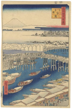 Snowy Bridge and Blue River w/ Mt. Fuji, Ando Hiroshige Japanese Woodblock Print
