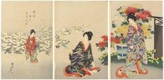 Chikanobu Japanese Woodblock Print, Tokugawa Court Ladies, Chrysanthemum Flowers