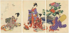 Court Ladies, Chikanobu Japanese Woodblock Print, Girls, Women, Toys and Peonies