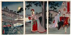 Chikanobu Yoshu, Meiji, Japanese Woodblock Print, Ukiyo-e,