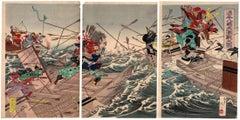 Kuniomi Utagawa, Japanese Woodblock Print, Ukiyo-e, Samurai, Utagawa School, Sea